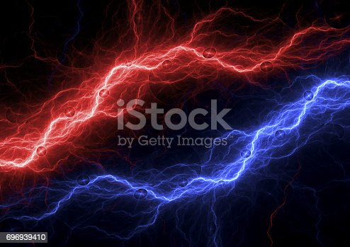 istock Red and blue electric background, lightning and plasma abstract 696939410