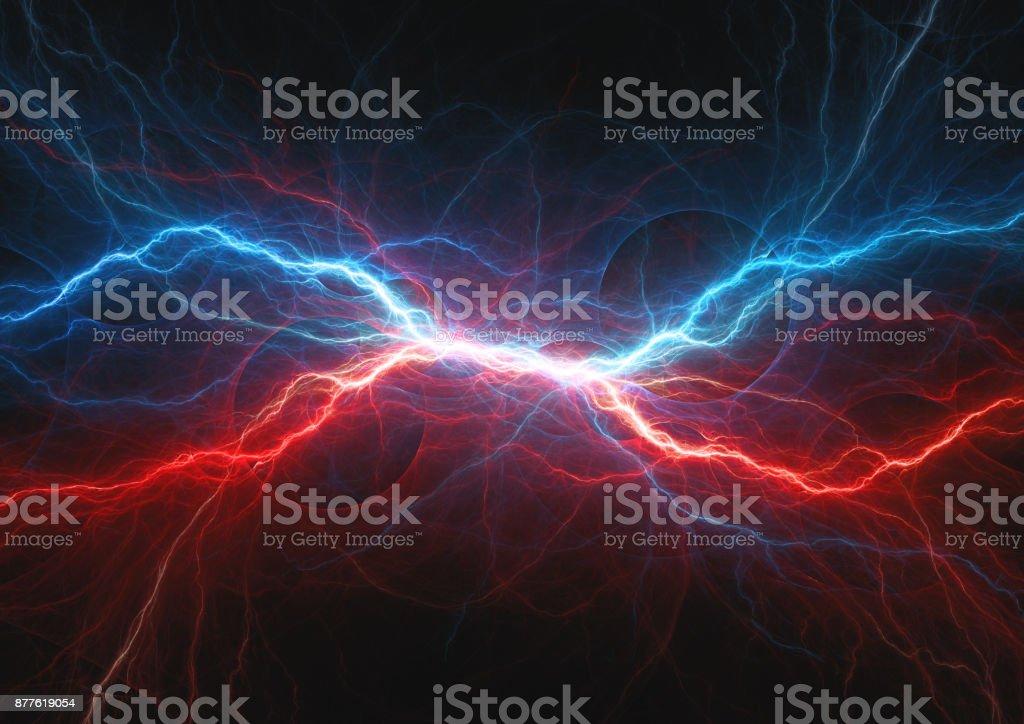 Röda och blå elektriska blixtar, firea och icel plasma bildbanksfoto