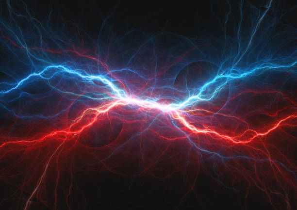 Red and blue electrical lightning, firea and icel plasma stock photo