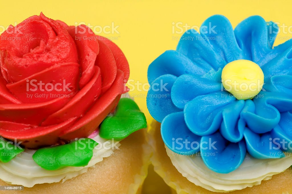 Red And Blue Flower Cupcakes Stock Photo Download Image Now Istock