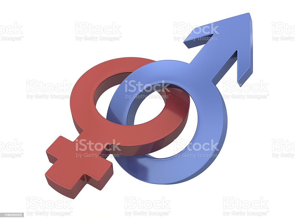 Red and blue gender symbols combined royalty-free stock photo