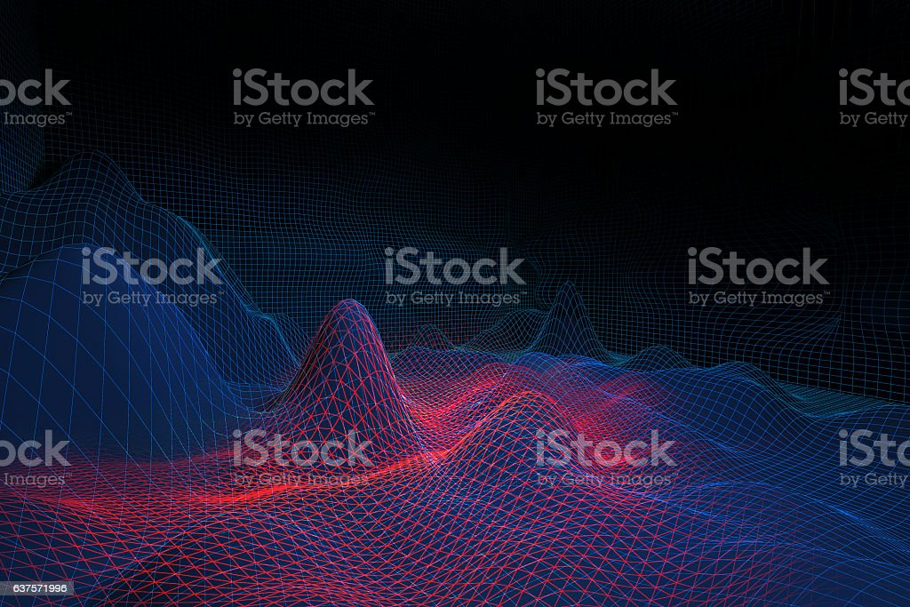 Red and blue grid waves stock photo