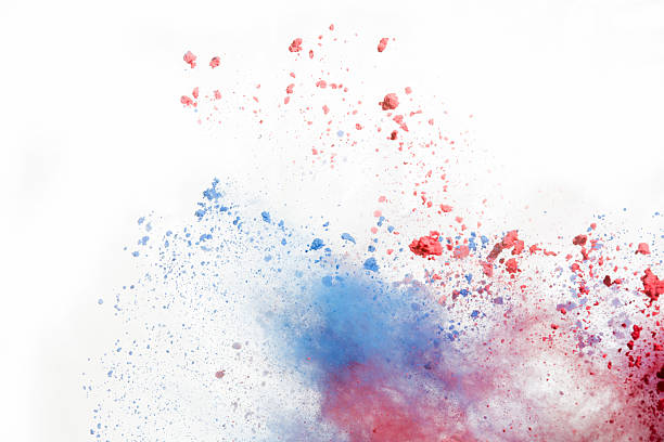 Red and Blue Holi Powder on white background Color Powder for Holi Festival. Often used in India and music festivals colored powder stock pictures, royalty-free photos & images