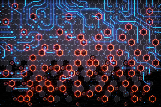 紅色和藍色蜂窩電路 - 蜂巢式樣 個照片及圖片檔