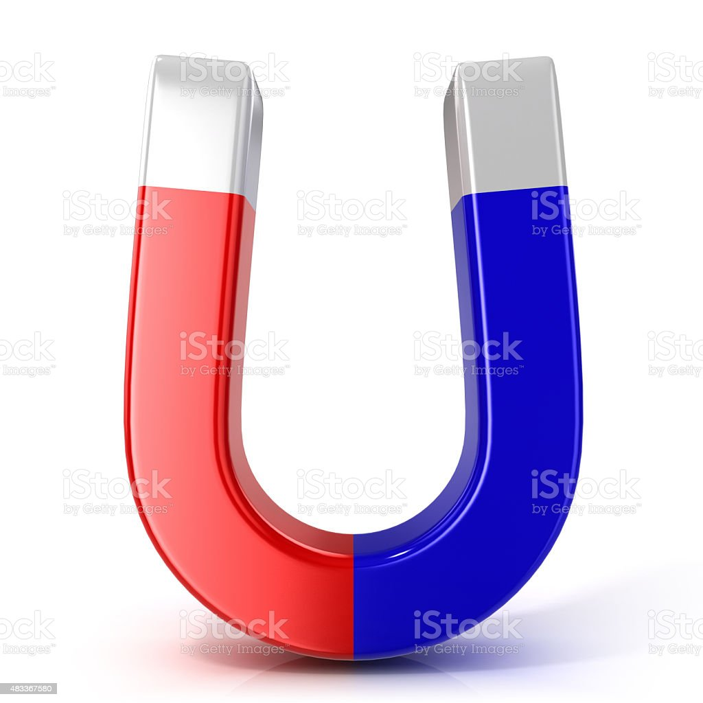 Red and blue horseshoe magnet stock photo