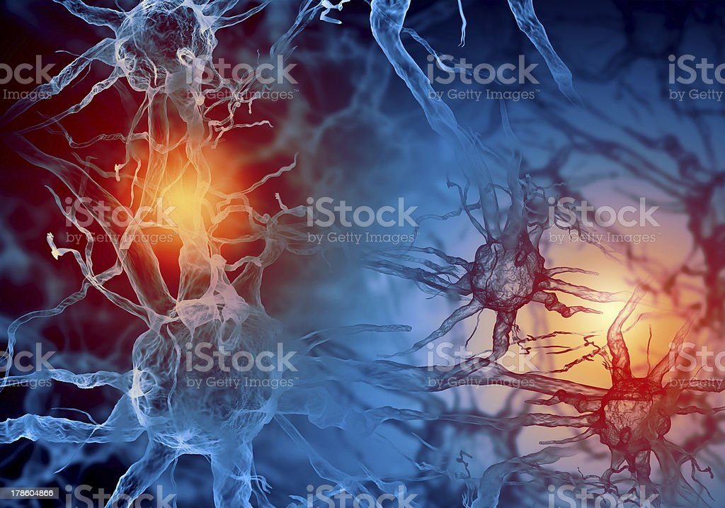 Red and blue illustration of a nerve cell Illustration of a nerve cell on a colored background with light effects Anatomy Stock Photo