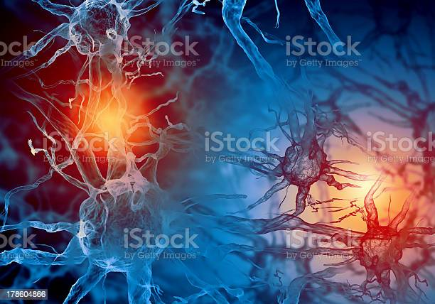 Red And Blue Illustration Of A Nerve Cell Stock Photo - Download Image Now