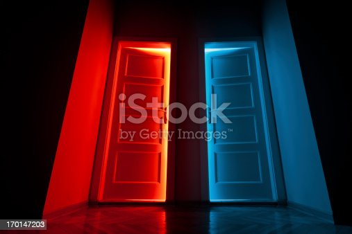 Two Doors opens and lets the red and blue light in. Useful for multiple concepts, choice,business opportunity, taking chances, hope, ....Lot of space for copy