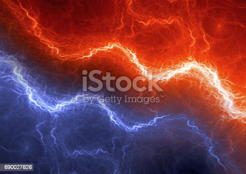 istock Red and blue lightning, abstract electric element 690027626