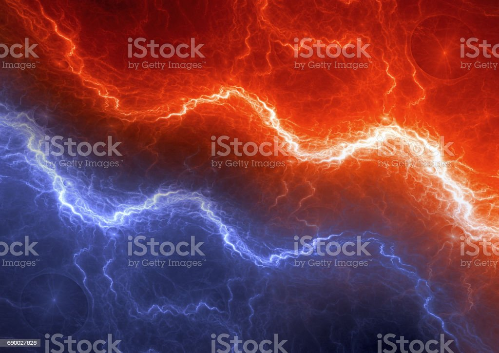 Red and blue lightning, abstract electric element stock photo