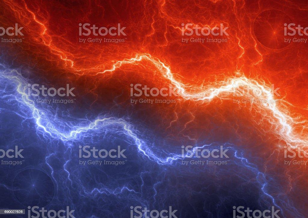 Rayo rojo y azul, elemento eléctrico Resumen - foto de stock