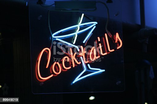 istock Red and blue neon cocktail sign 89949019