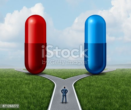 istock Red And Blue Pill Choice 871263272