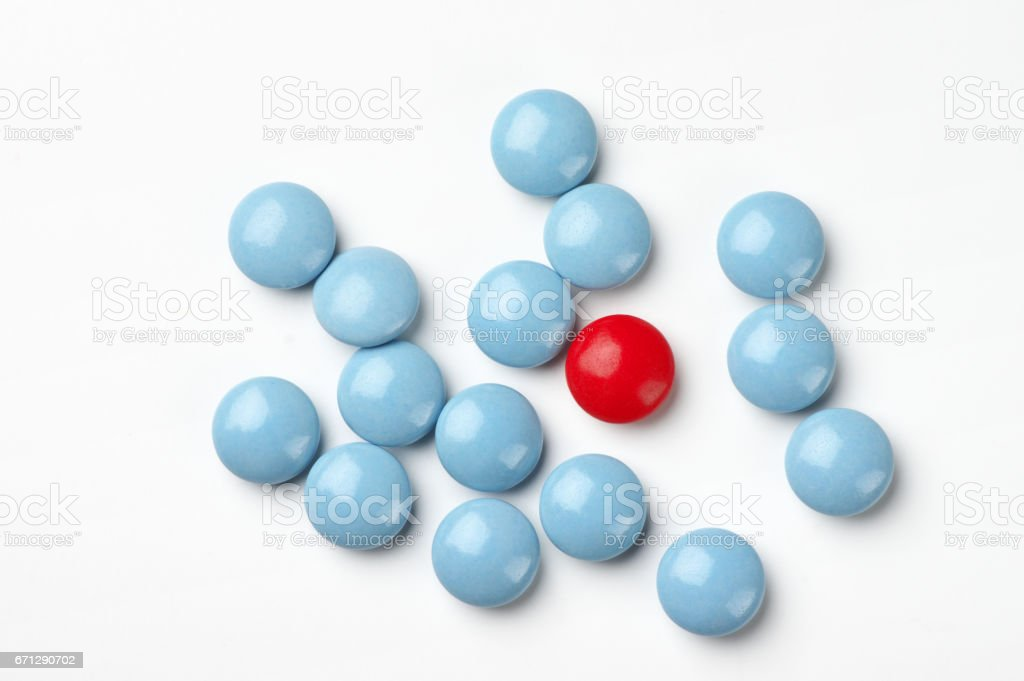 Red and blue pills stock photo