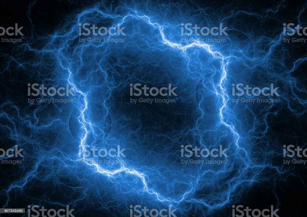 Red and blue plasma ball, abstract electrical lightning stock photo