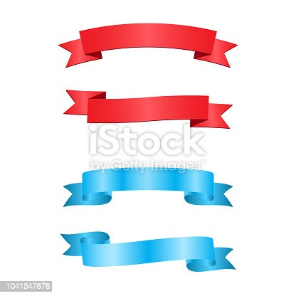 istock red and blue ribbons 1041547678