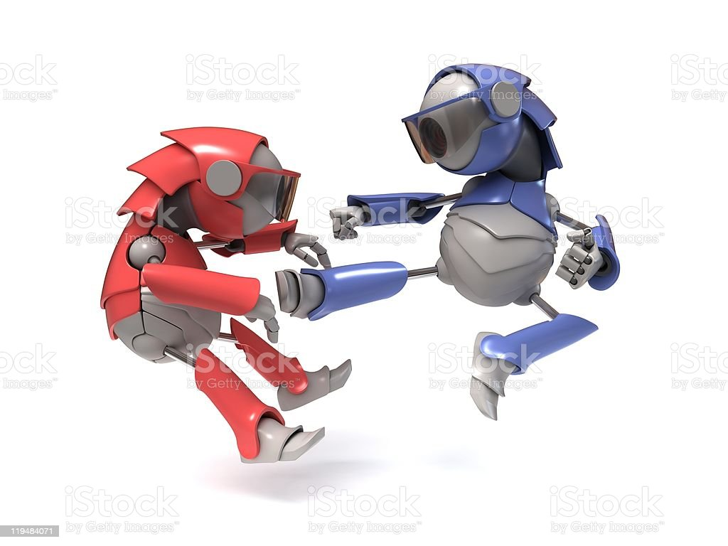 Red and blue robots fighting on white background stock photo