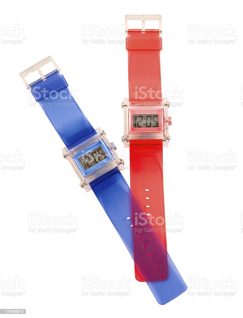 Red and blue simple translucent silicone watches stock photo