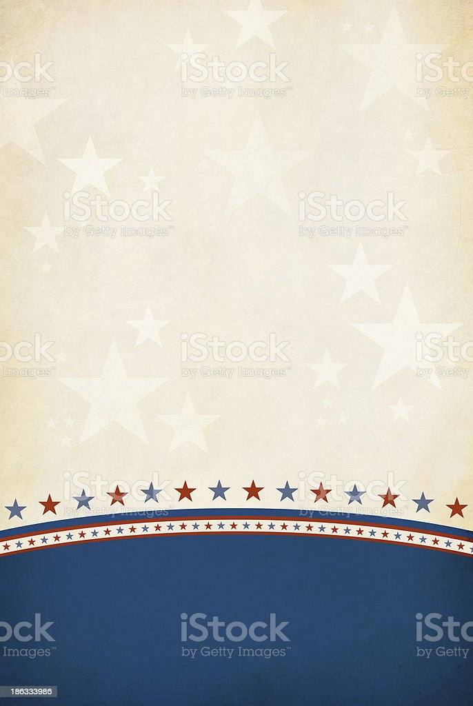 Red and Blue stars separating a blue and brown background stock photo