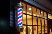 Red and blue striped barber shop pole