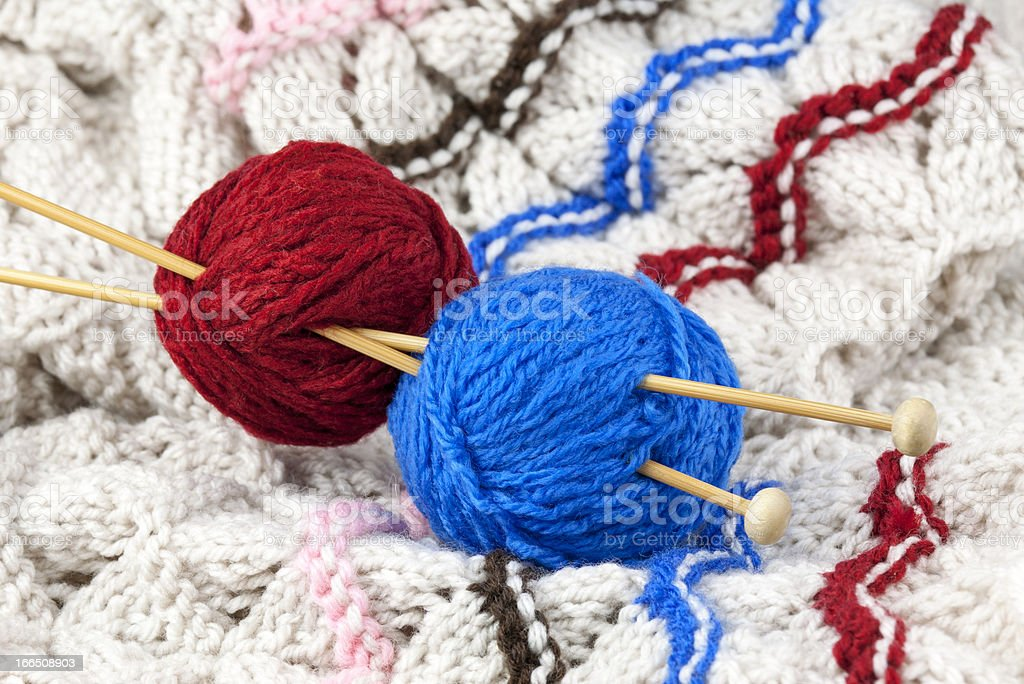 Red and blue threads royalty-free stock photo