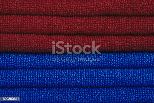 1131900491istockphoto Red and blue towels 600390614