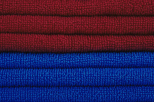 1131900491 istock photo Red and blue towels 600390614