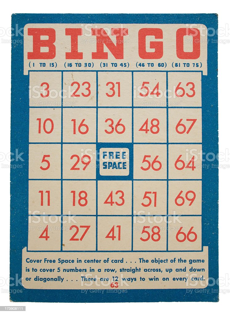 Red and blue vintage bingo card design on white background - Stock image .