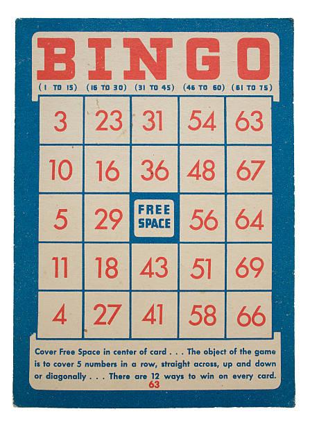 Red and blue vintage bingo card design on white background圖像檔