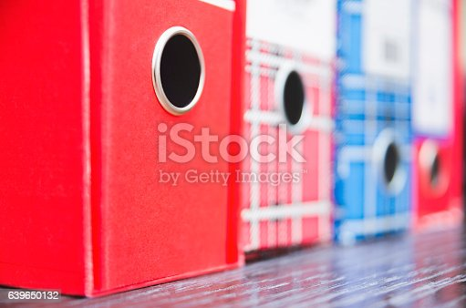 istock Red and blue vintage business paper folders 639650132