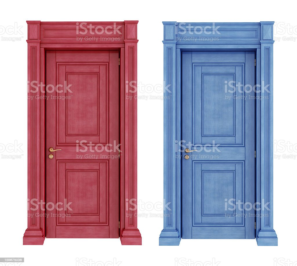 Red and blue vintage doors stock photo