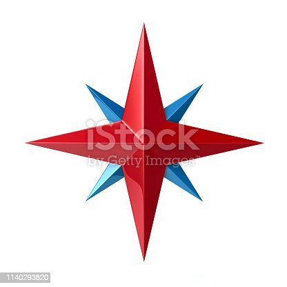 187602778 istock photo Red and blue wind rose symbol 3d illustration 1140293820