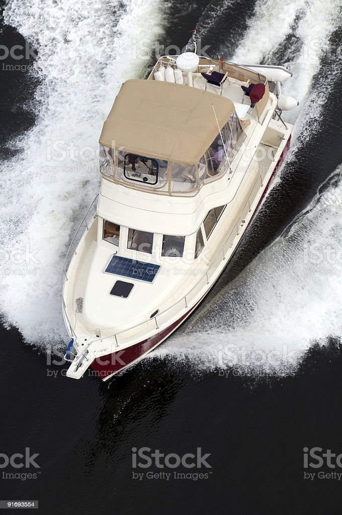 Red and Cream Speedboat royalty-free stock photo