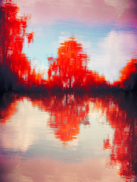 Red and dreamy scene of a tree at the lake stock photo