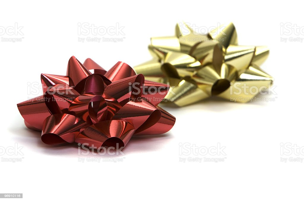 Red and gold bows royalty-free stock photo
