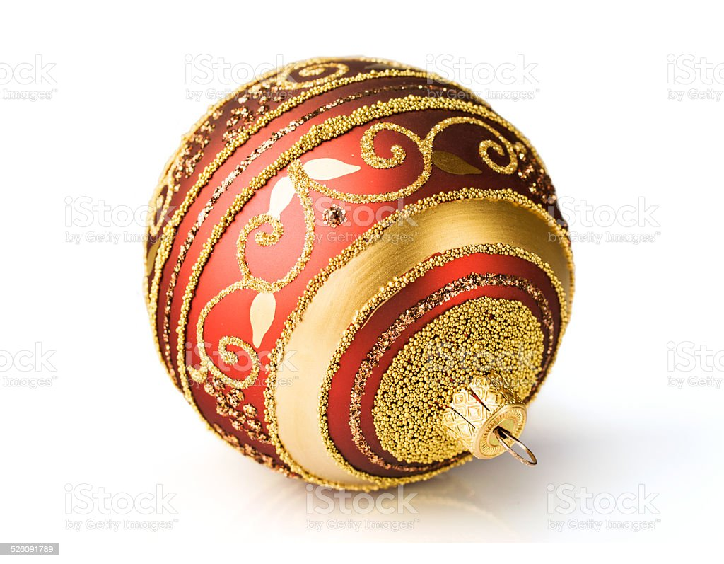 red and gold Christmas ball stock photo