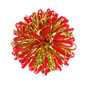 istock Red and gold Christmas bow on white background 175213515