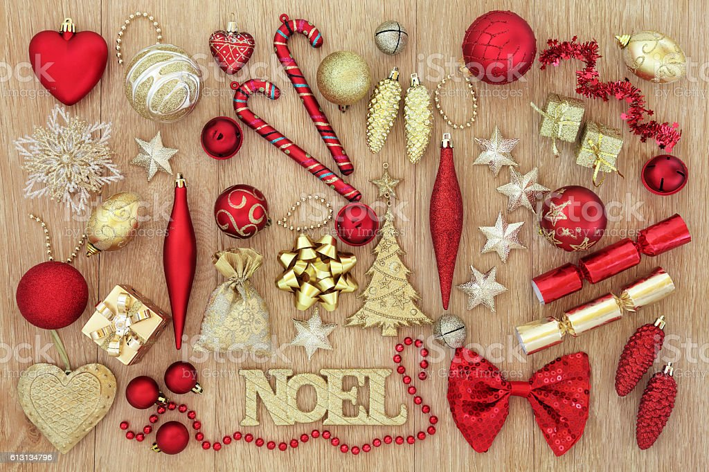 Red and Gold Christmas Decorations stock photo