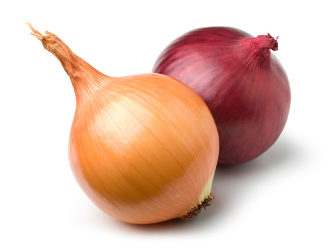 Red and gold onion on white. This file includes