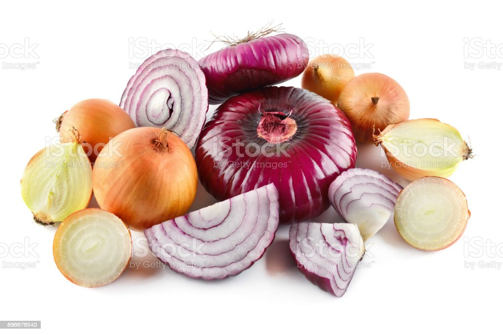 Red and gold onions isolated on white background. Collection. stock photo