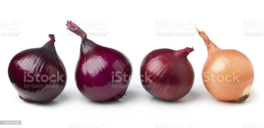 Red and gold onions royalty-free stock photo