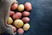 Red and Gold potatoes in hessian sack on slate table top with copy space