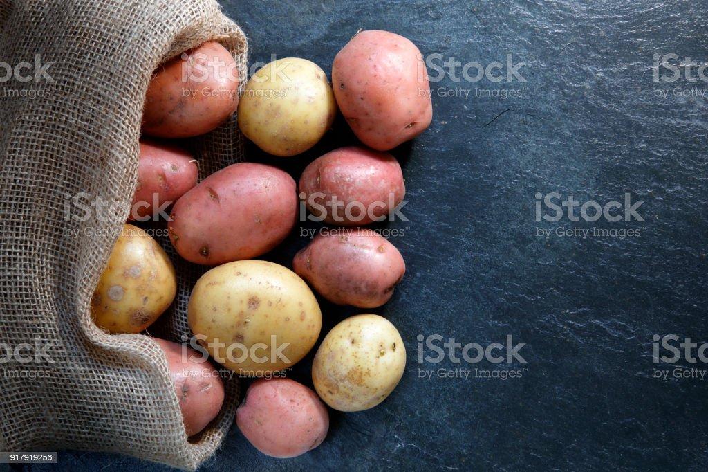 Vermelho e ouro batatas no saco do bárbaro - foto de acervo