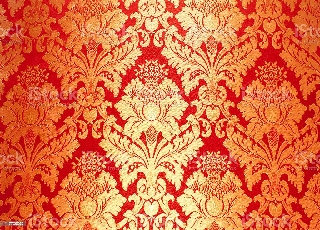 Red and gold royal floral background stock photo
