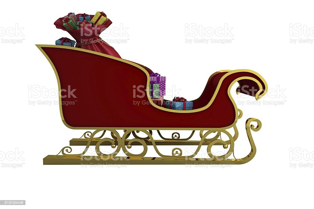 Red and gold santa sleigh stock photo