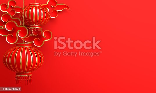 istock Red and gold traditional Chinese lanterns lampion and paper cut cloud. Design creative concept of chinese festival celebration. 1166786671