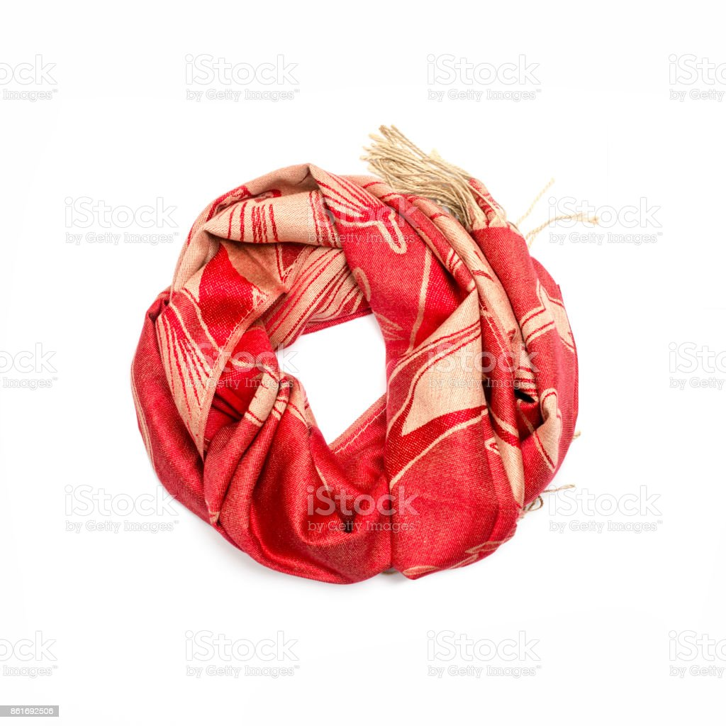 4bef1537c red and gold women's scarf with pattern isolated on white royalty-free stock  photo
