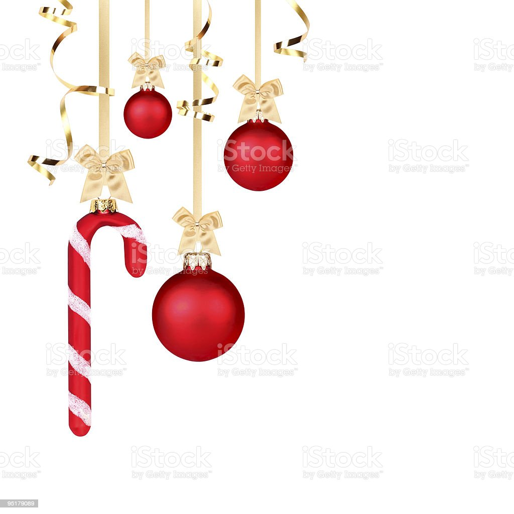 Red and golden Christmas decoration stock photo