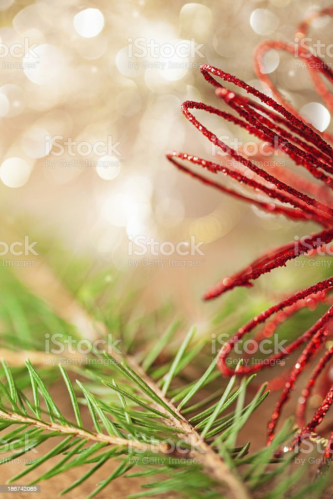 Red and golden Christmas ornaments on plank royalty-free stock photo