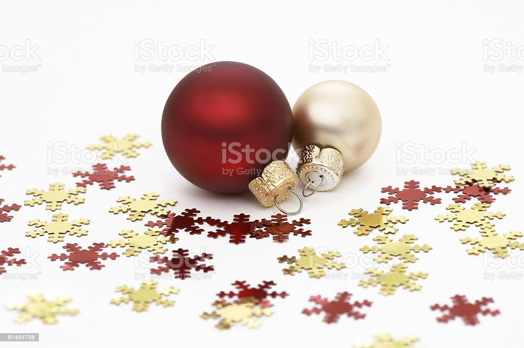 Red and Golden Christmas Ornaments royalty-free stock photo